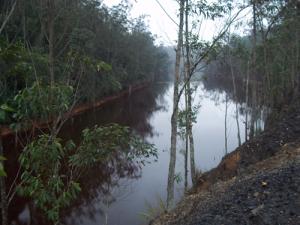 Lagoa contaminada no centro da área devastada pela Dragline Marion 7800.