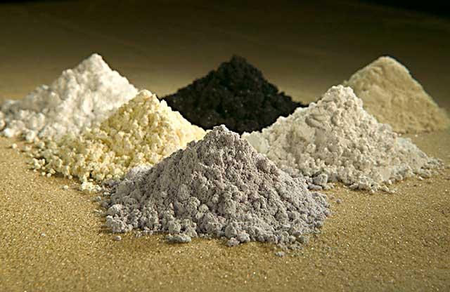 Terras raras - praseodymium, cerium, lanthanum, neodymium, samarium, and gadolinium.